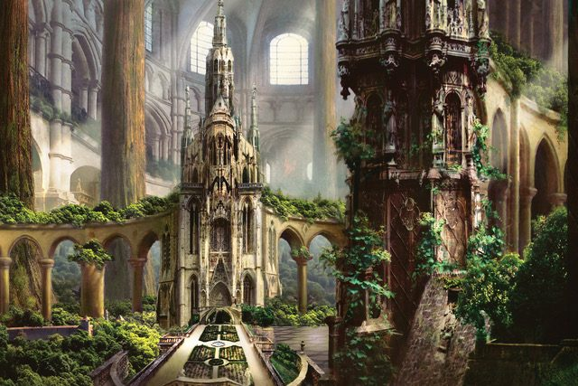 the temple garden gicle canvas print - Temple Garden